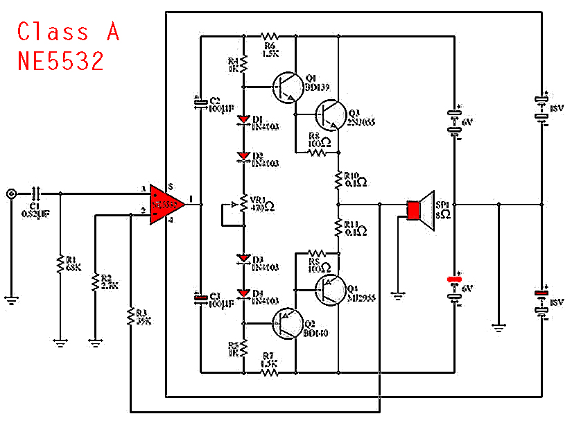 ne5532 class a power amplifier electronic circuit rh elcircuit com Power Amplifier Circuit Diagram Power Amplifier Circuit Diagram