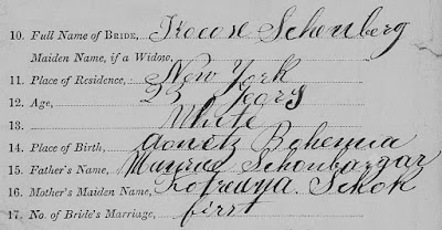 Manhatten, New York County, Manhattan (New York City) marriage records, 1866-1937; index to all boroughs, 1866-1937, Certificates no. 3607-4600 1872: 3630, extract from Nathan L. Weil-Theresia Schönberger marriage registration; FHL microfilm 1,561,851.