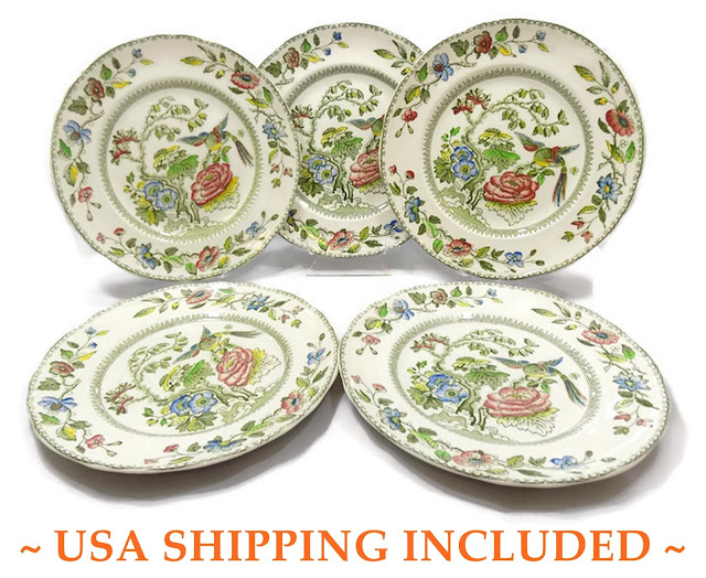 Five Davenport Pattern Crown Staffordshire Dinner Plates
