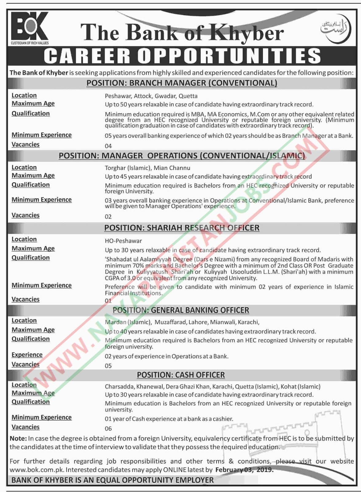 The Bank Of Khyber Jobs, The Bank Of Khyber Jobs Jan 2019 | Cash Officers, Bank of Khyber Jobs 2019 | Cash Officers