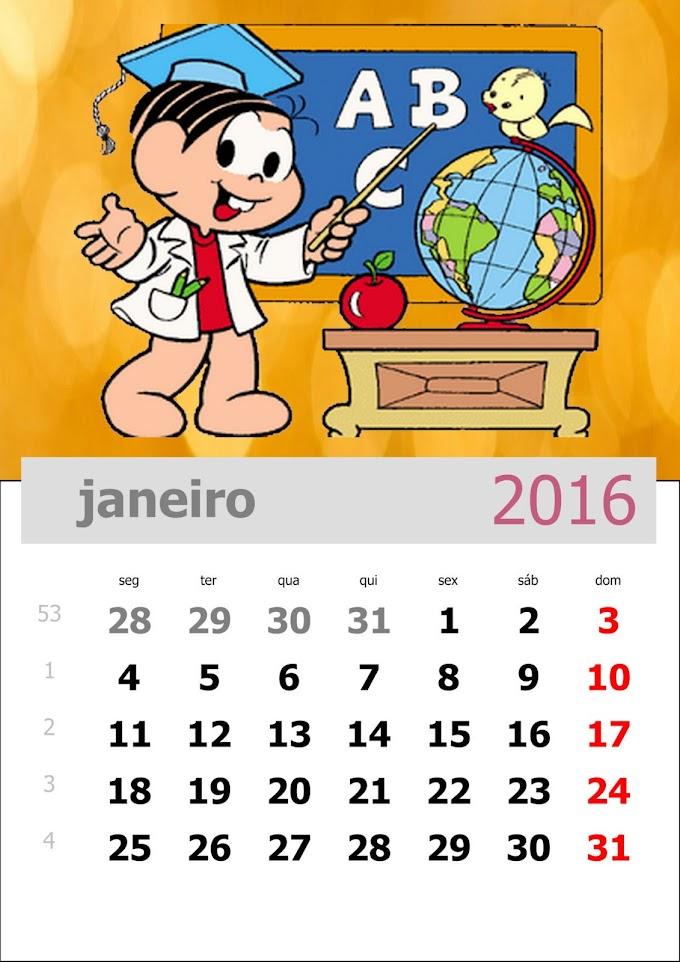 Calendário 2016 Turma da Mônica para imprimir.