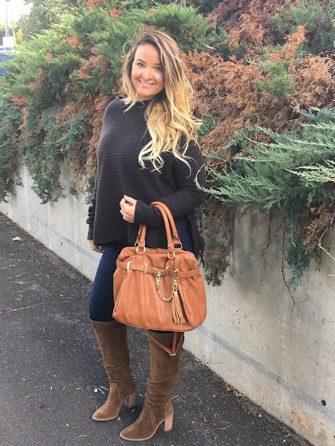 Black Oversized Sweater & Over the Knee Boots by Colorado fashion blogger Delayna Denaye