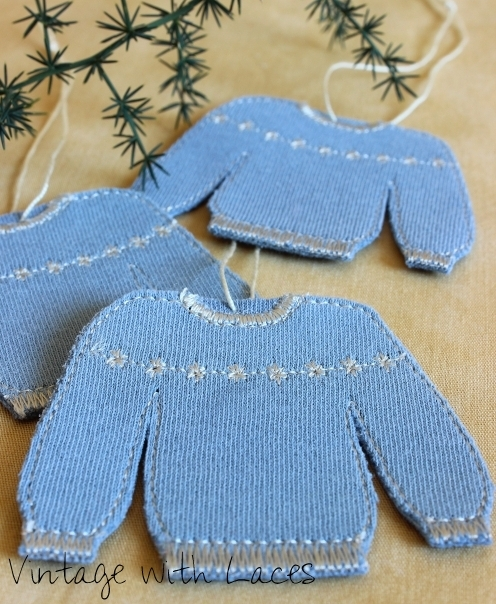 Old T-Shirt upcycled into Christmas sweater ornaments by Vintage with Laces