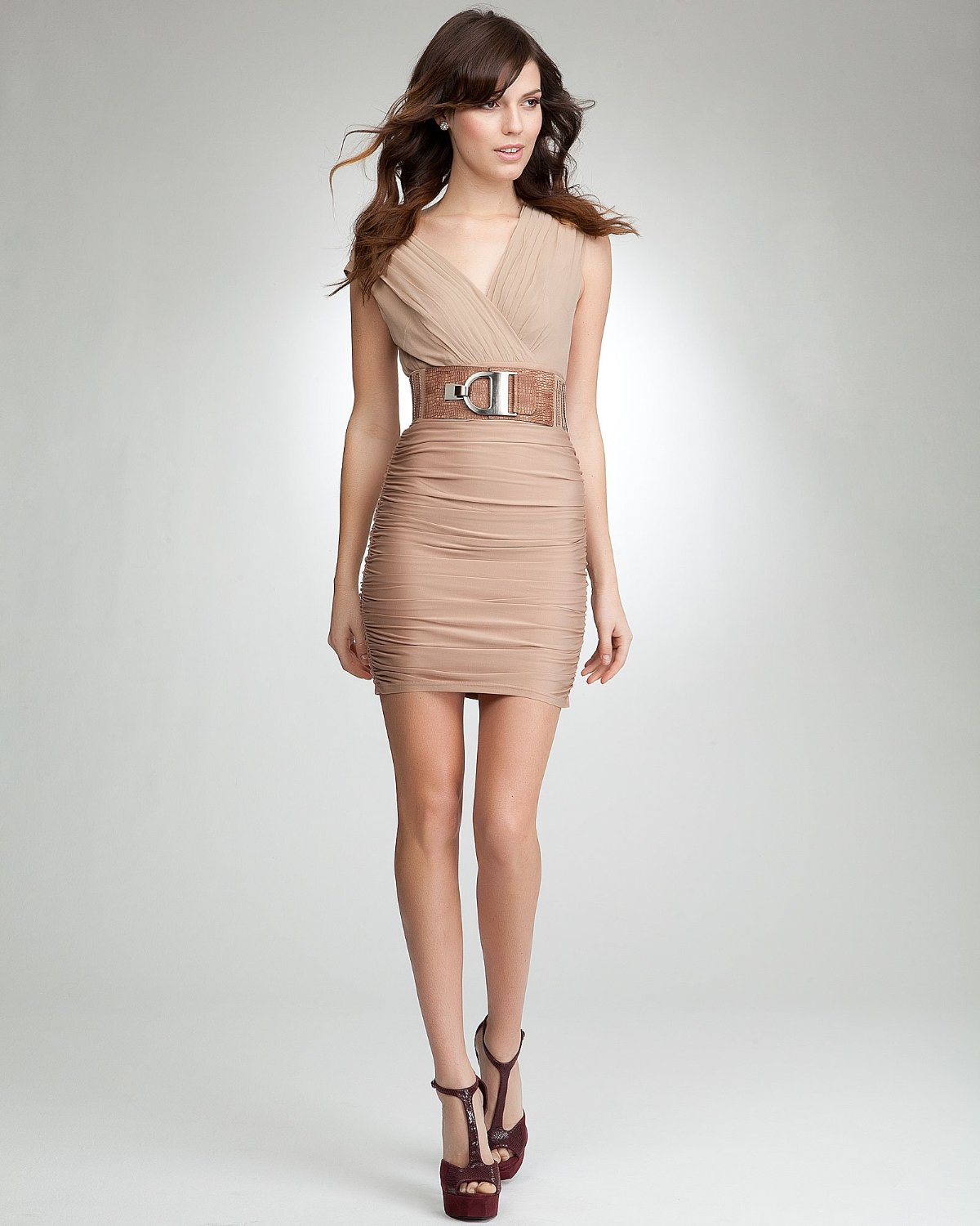 Nature Dress: Dress4Cutelady: Natural Color Dress With Chocolate Brown