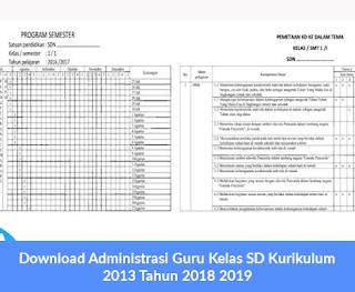 Download Administrasi Guru Kelas SD Kurikulum 2013 Tahun 2018 2019