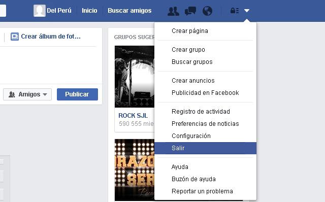 Salir cuenta de Facebook
