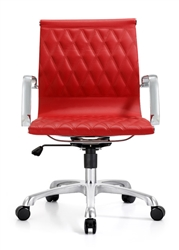 Red Leather Office Chair with Diamond Stitched Back