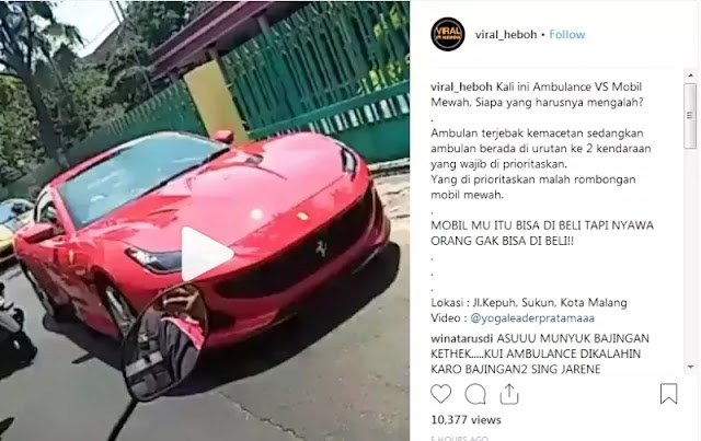 Video Ambulans Harus Ngalah karena Parade Mobil Sport, Bikin Geram!