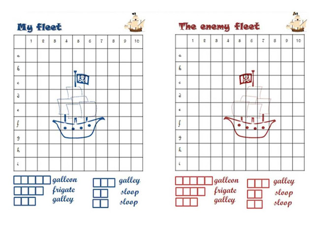 Battleship printable game - the pirate version!