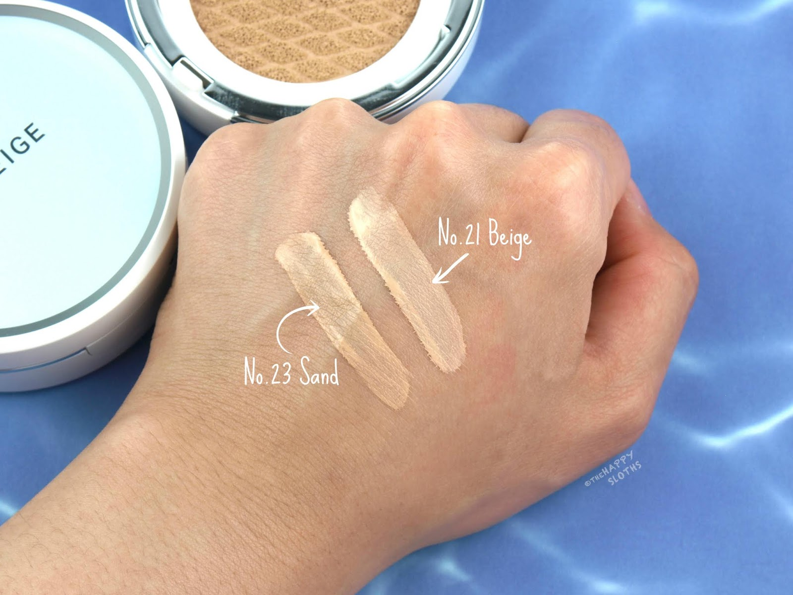 LANEIGE | BB Cushion Hydra Radiance SPF 50 | No. 21 Beige & No. 23 Sand: Review and Swatches