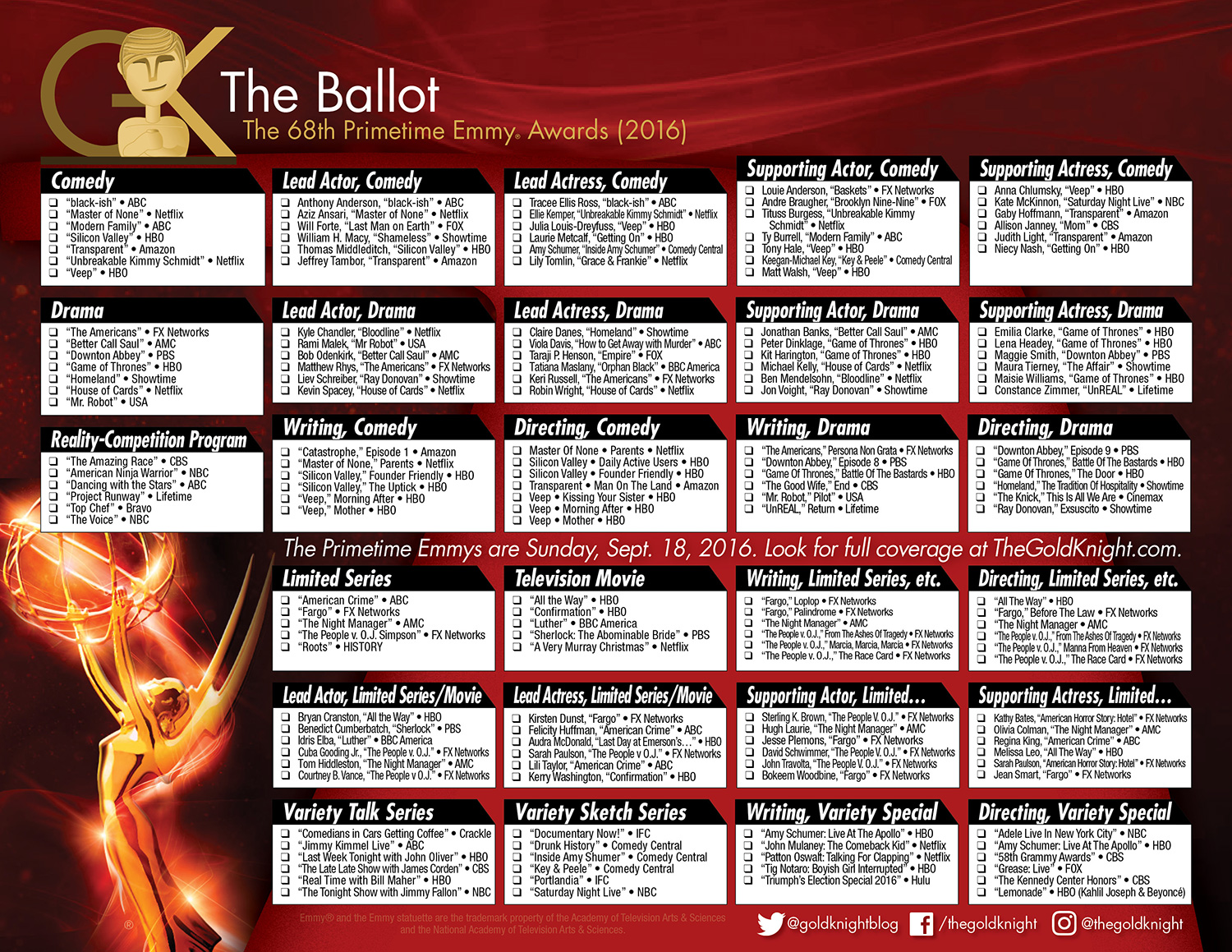 photo regarding Printable Ballot named 2016 Primetime Emmy Awards printable ballot The Gold