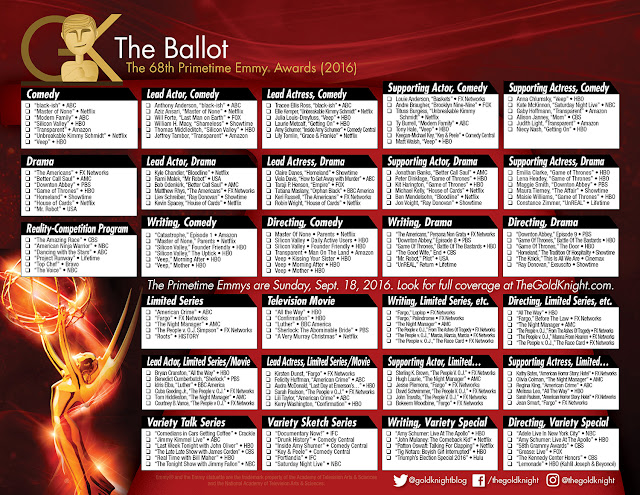 2016 Primetime Emmy Awards printable ballot