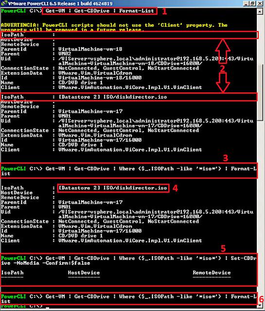 VMware 6.5.0 PowerCLI: Desconectar las unidades de DVD ISO de todas nuestras máquinas virtuales.