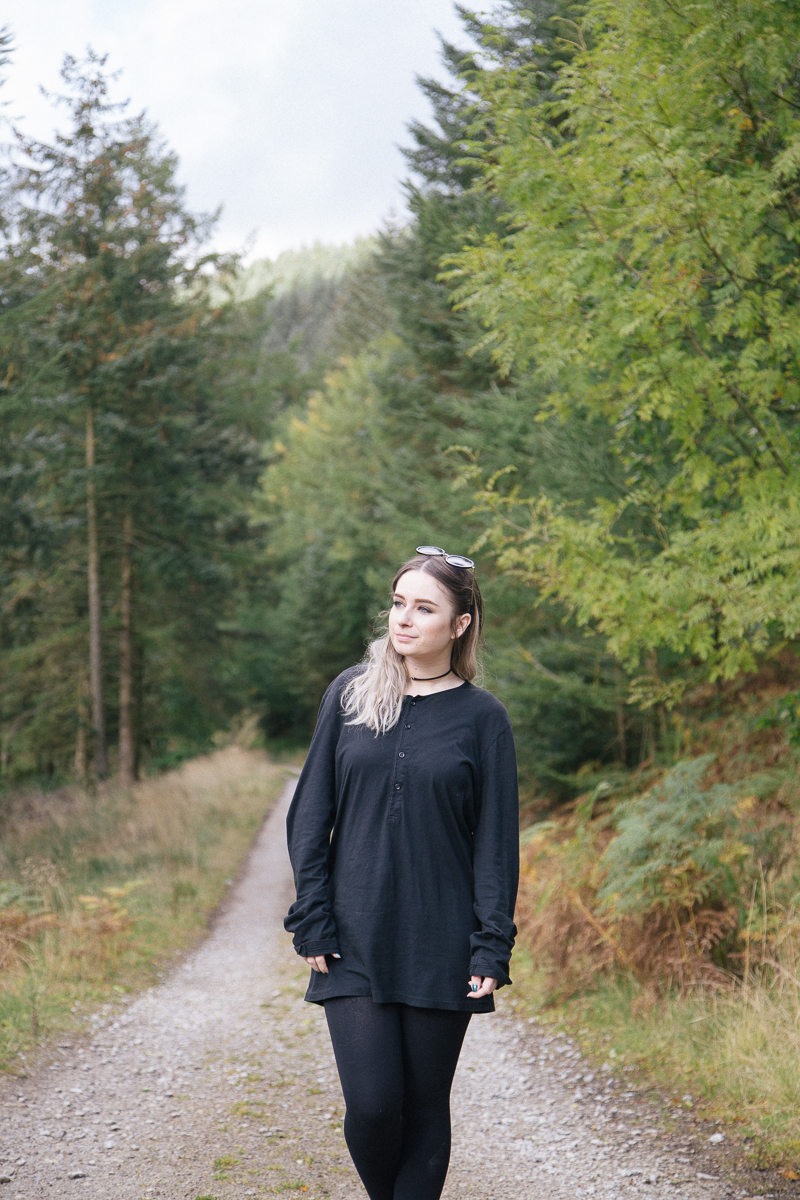 all saints t shirt dress girl in the forest peak district