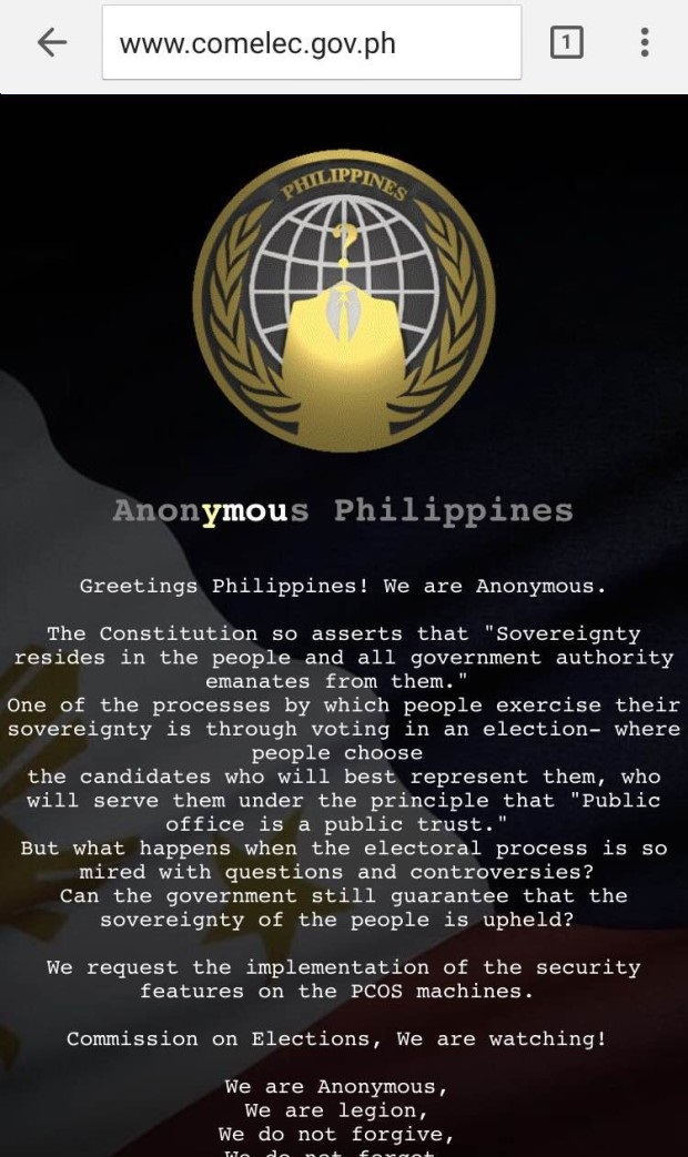 COMELEC Website was Hacked by Anonymous Philippines