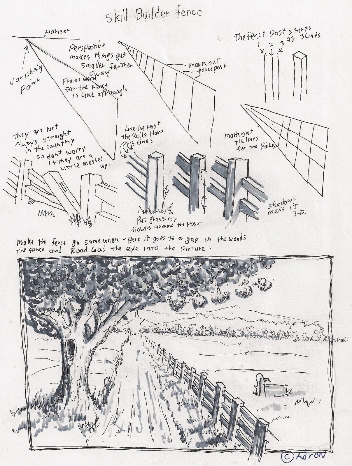 Adron S Art Lesson Plans How To Draw A Fence In A Rural Scene