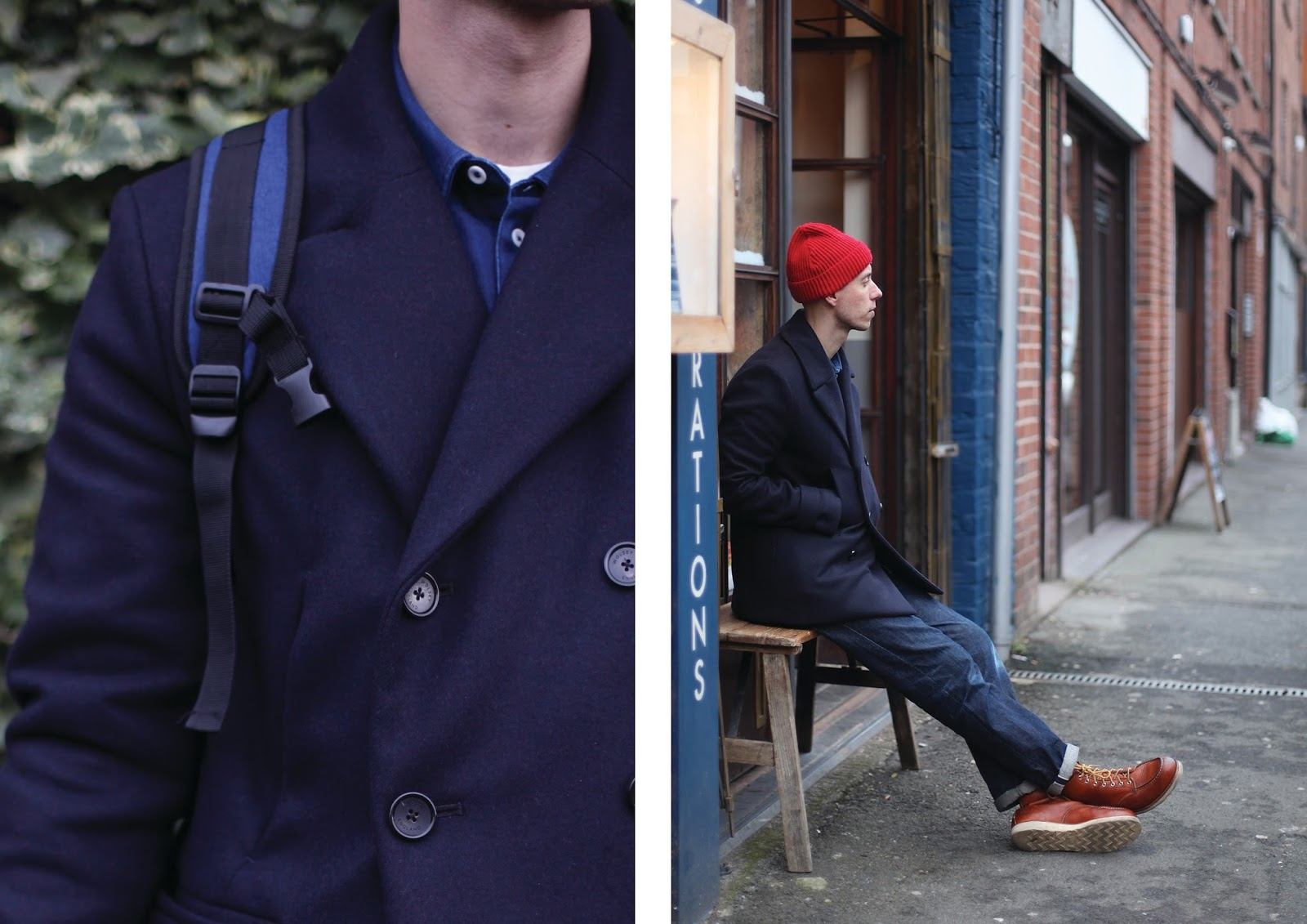 e7df7a86bd9 made in uk navy peancoat by wolsey red beanie hat mens fashion blogger