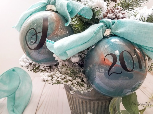 blue and copper metallic ornaments
