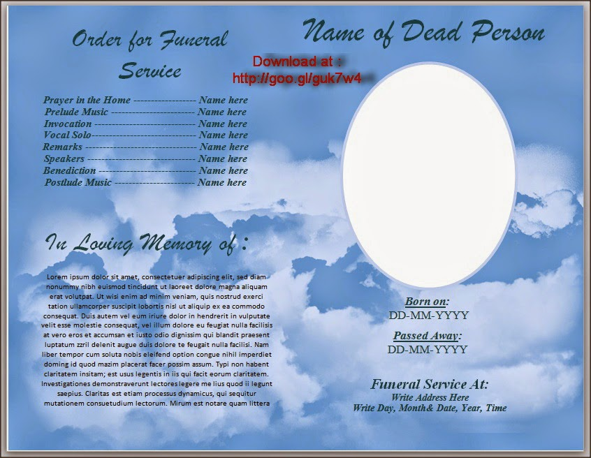 Free Funeral Program Template For Australia in Microsoft Word | Free ...