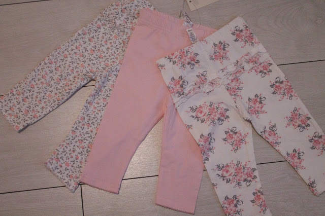 asda three pack of floral pink baby leggings with frilly bum
