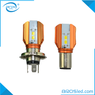 BROSled.com BMHDC1B2010H4-10F LED Motorcycle H4 BA20D Hi-Lo Beam Headlight Bulb Conversion Kit with Fan DC 9-15V 6000K COB 2000LM 1000LM 5X2W (1)