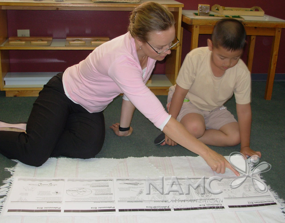 NAMC Montessori history timelines lower elementary. Teacher and child reading timeline