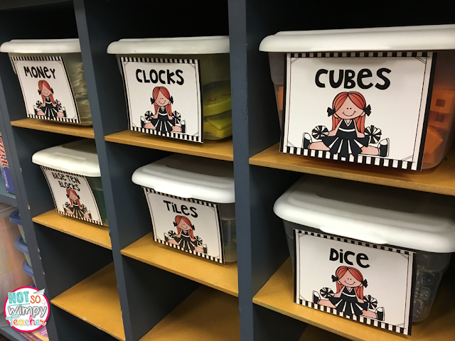 Sports Theme Classroom Supply Organization from Not So Wimpy Teacher