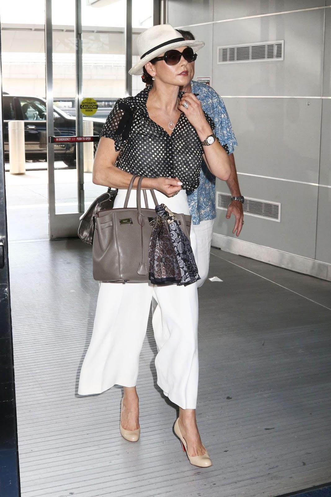 Catherine Zeta Jones At JFK Airport In New York HD Photos