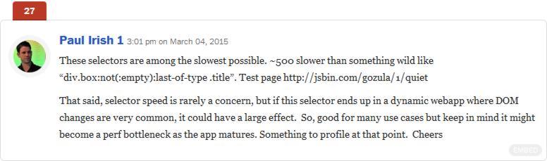 opinión de Paul Irish sobre la incidencia de los selectores Css en la composición de la página