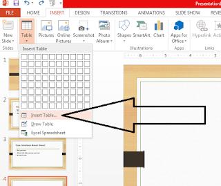cara membuat tabel di dalam slide presentasi power point 2013 dengan mudah