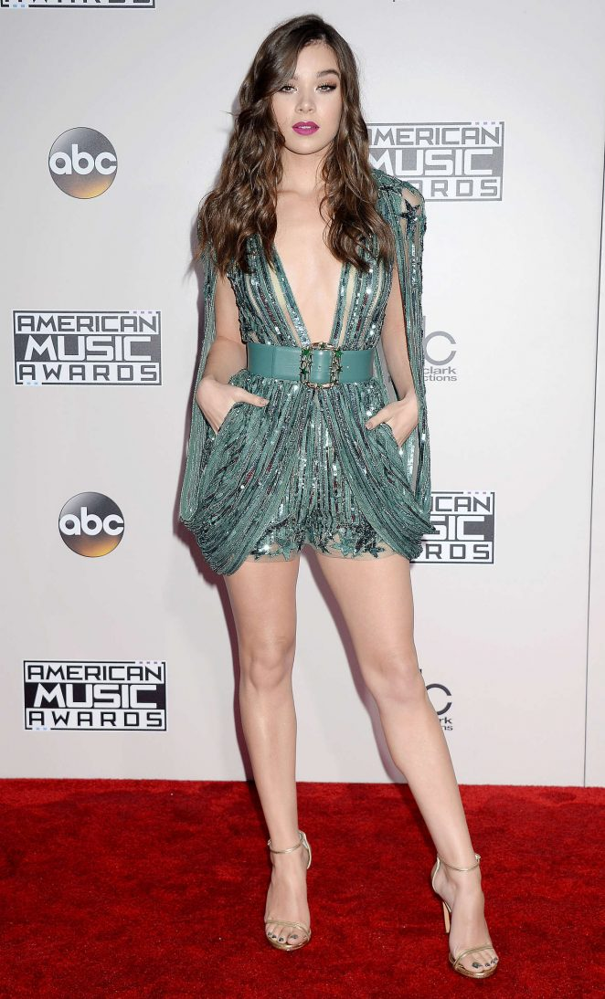 Hailee Steinfeld flashes skin in plunging playsuit at the 2016 American Music Awards in Los Angeles