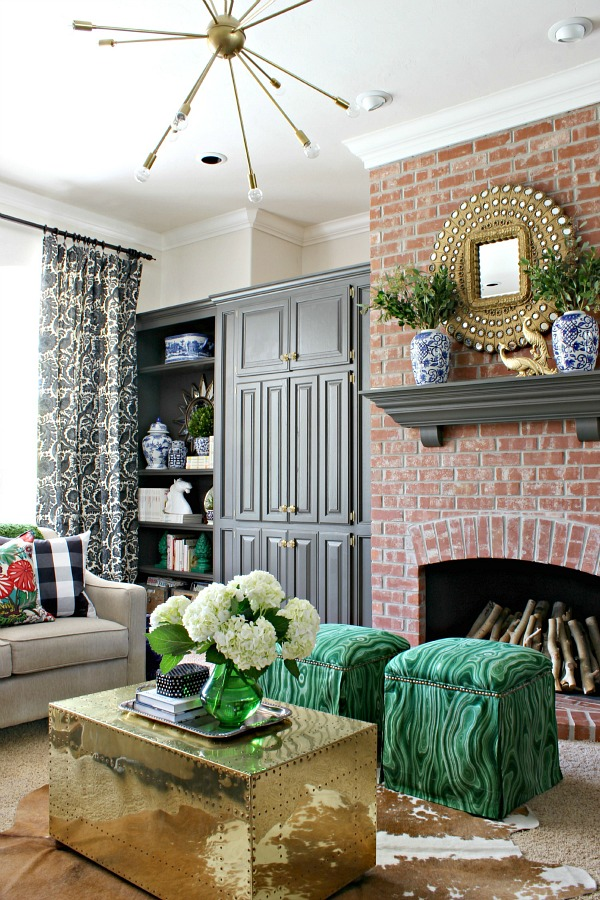 netflix shows, family friendly tv shows, living room decor, brass trunk, Urbane Bronze painted shelves
