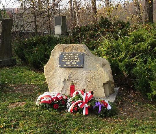 Obelisk ustawiony w 100-rocznicę odzyskania przez Polskę niepodległości 1918-2018.
