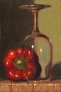 Oil painting of a red pepper beside an upside-down ISO tasting glass.