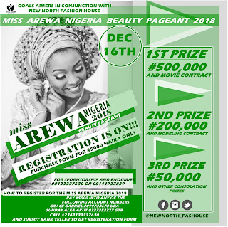 Registration is On!!! Miss Arewa Nigeria 2018 (Beauty Pageant)