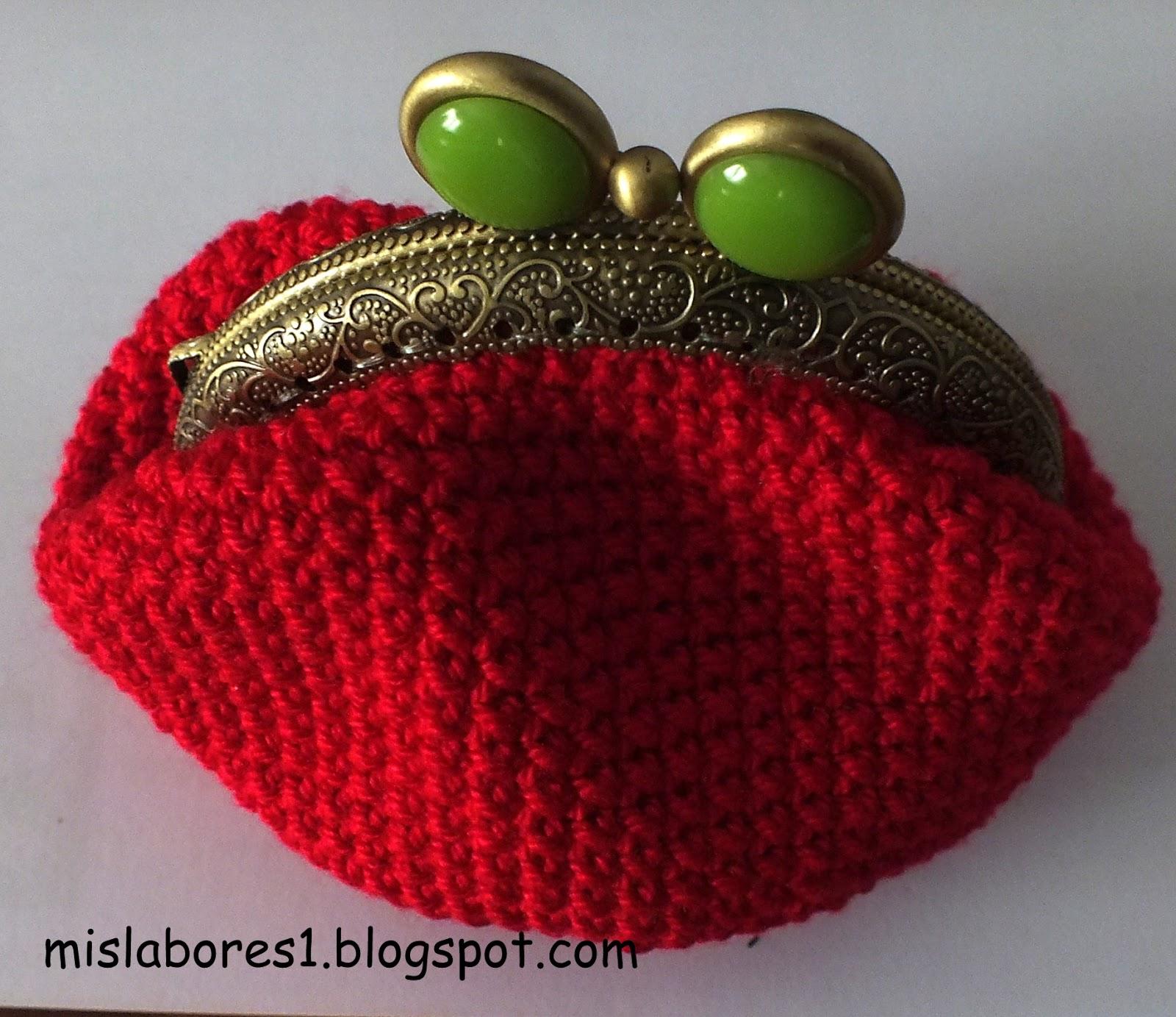Mis labores monedero de ganchillo con boquilla redonda for Monedero ganchillo boquilla ovalada
