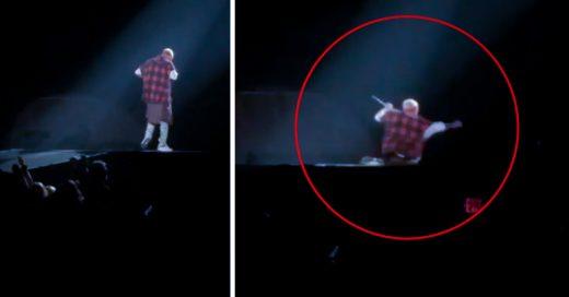 Justin Bieber se cae en escenario por subir su pantalon