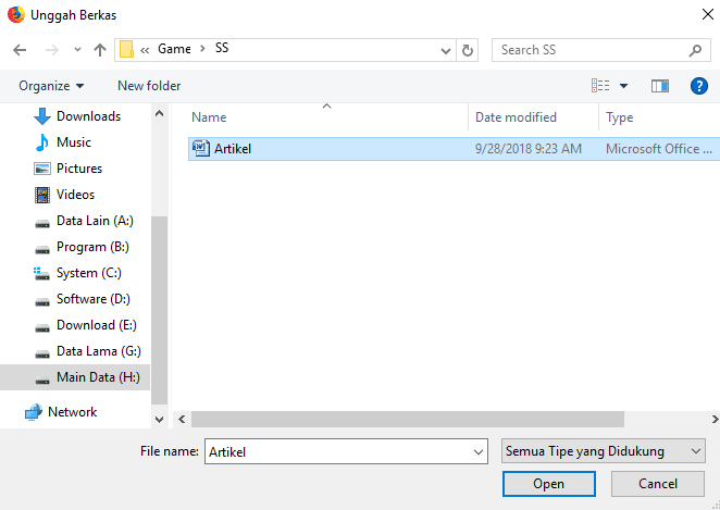 cari file Word yang ingin diubah