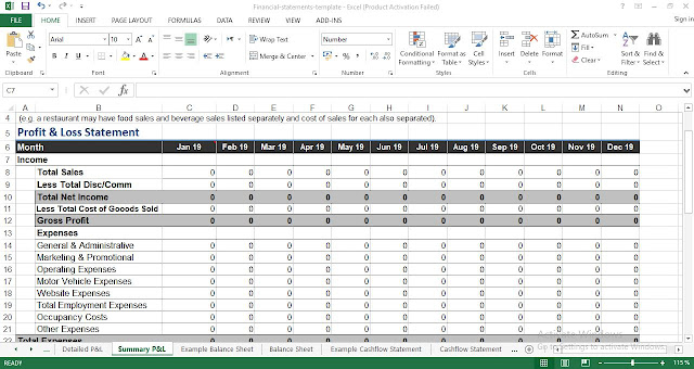financial statements template for excel