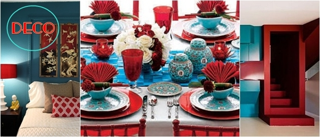 coral red and turquoise decoration ideas