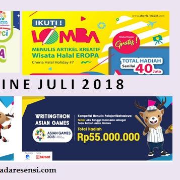 Daftar Lomba Menulis Juli 2018