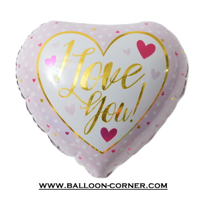 Balon Foil Hati Motif Pink I LOVE YOU