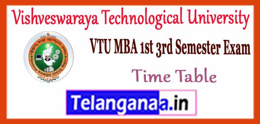 VTU Vishveswaraya Technological University MBA 1st 3rd Semester Time Table 2017