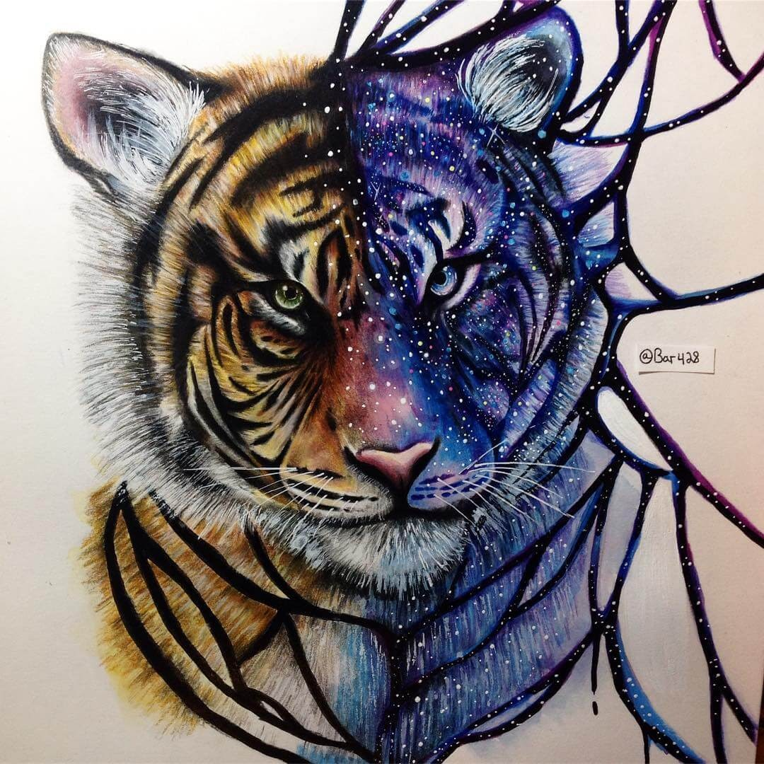 02-Half-galaxy-tiger-Estefani-Barbosa-Fantasy-Animals-in-Pencil-Drawings-www-designstack-co