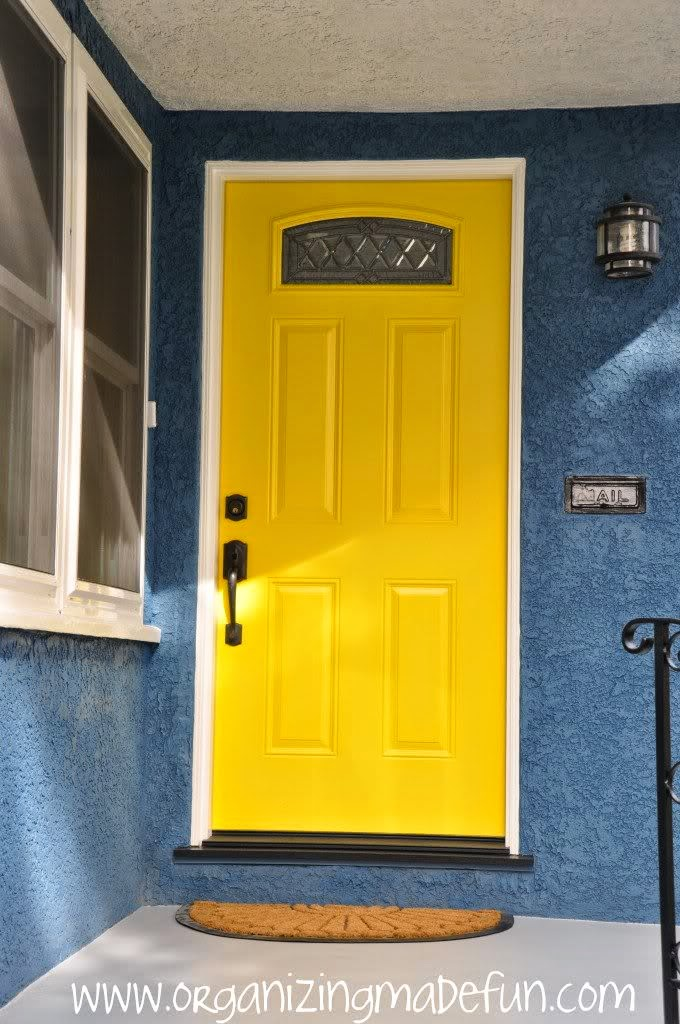 Yellow front door of Organizing Made Fun's home tour
