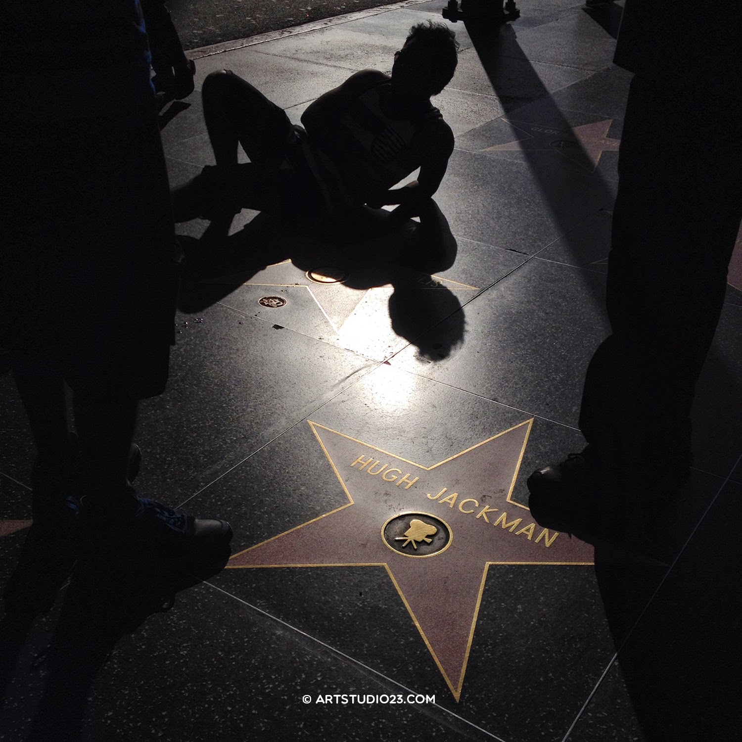Hollywood Boulevard - posing on Walk of Fame with backlight