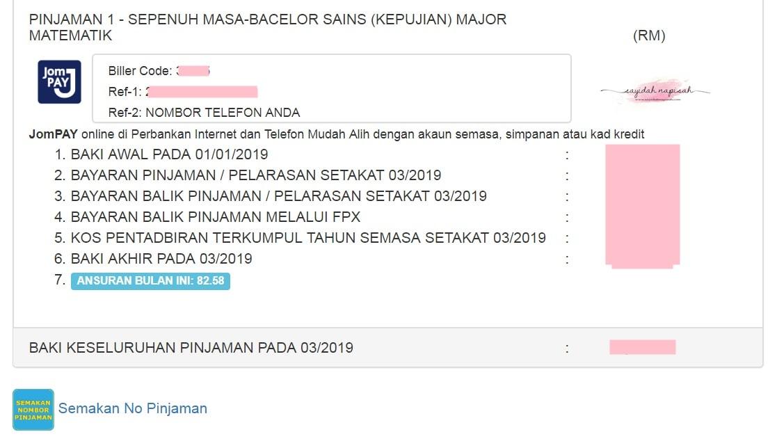 Cara Check Baki Bayaran Balik Pinjaman PTPTN (Online)