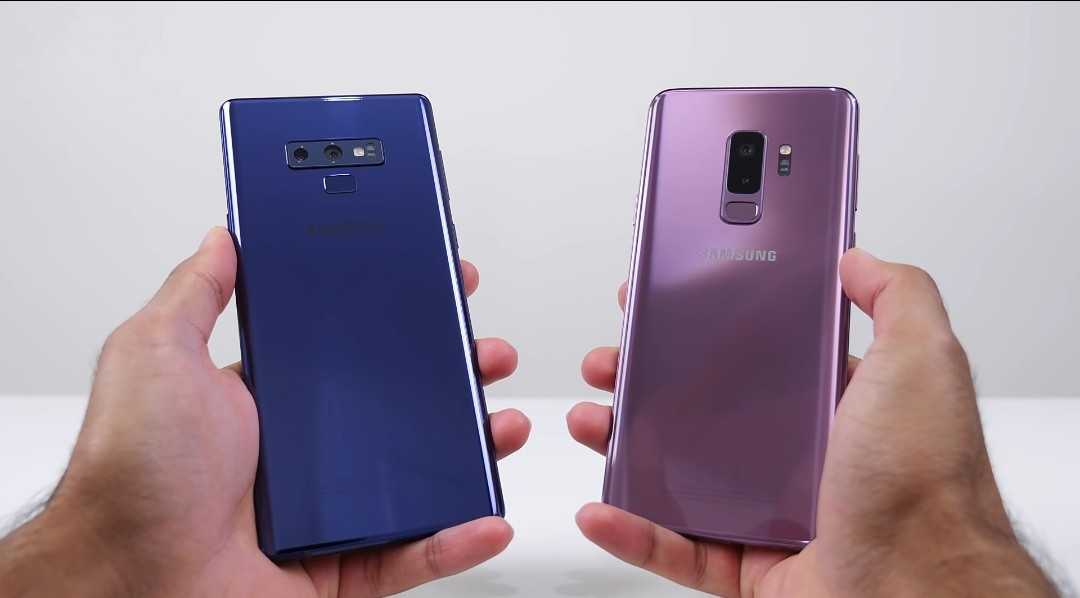 The Samsung Galaxy Note 9 and the Samsung Galaxy S9+ differences in build and design.