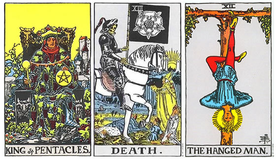 Rider Tarot - King of Pentacles/Coins, Death, The Hanged Man