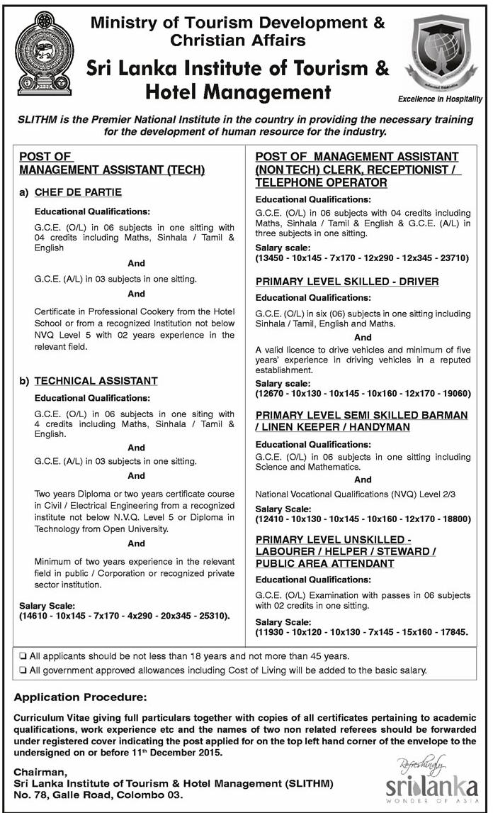 Sri Lanka Job Network  jobsvacancies December 2015